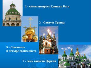 1 - символизирует Единого Бога 3 - Святую Троицу 5 - Спаситель и четыре еван