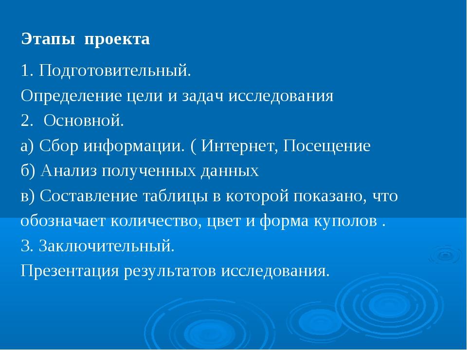 Этапы проекта Подготовительный. Определение цели и задач исследования 2. Осно...
