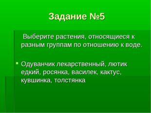 Задание №5 Выберите растения, относящиеся к разным группам по отношению к вод