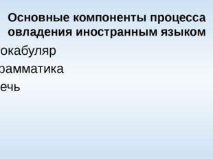 Основные компоненты процесса овладения иностранным языком Вокабуляр Грамматик