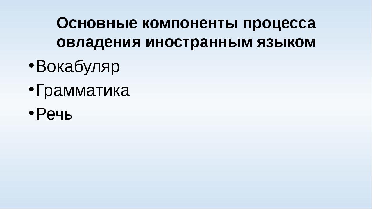 Основные компоненты процесса овладения иностранным языком Вокабуляр Грамматик...