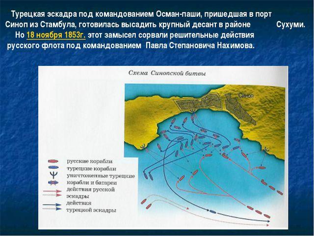 Турецкая эскадра под командованием Осман-паши, пришедшая в порт Синоп из Ста...