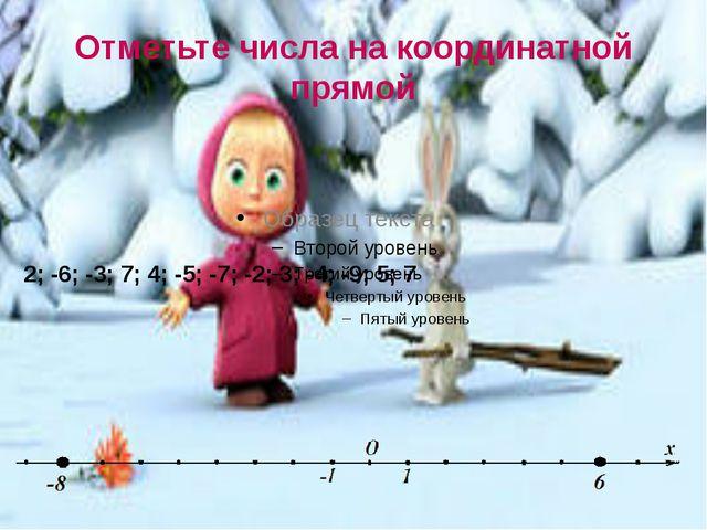 Отметьте числа на координатной прямой 2; -6; -3; 7; 4; -5; -7; -2; 3; -4; -9;...