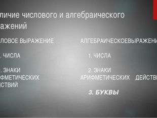 Различие числового и алгебраического выражений ЧИСЛОВОЕ ВЫРАЖЕНИЕ 1. ЧИСЛА