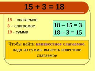 15 + 3 = 18 15 – слагаемое 3 – слагаемое 18 - сумма Чтобы найти неизвестное с