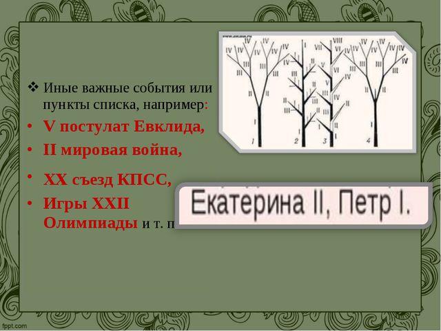 Иные важные события или пункты списка, например: V постулат Евклида, II миров...