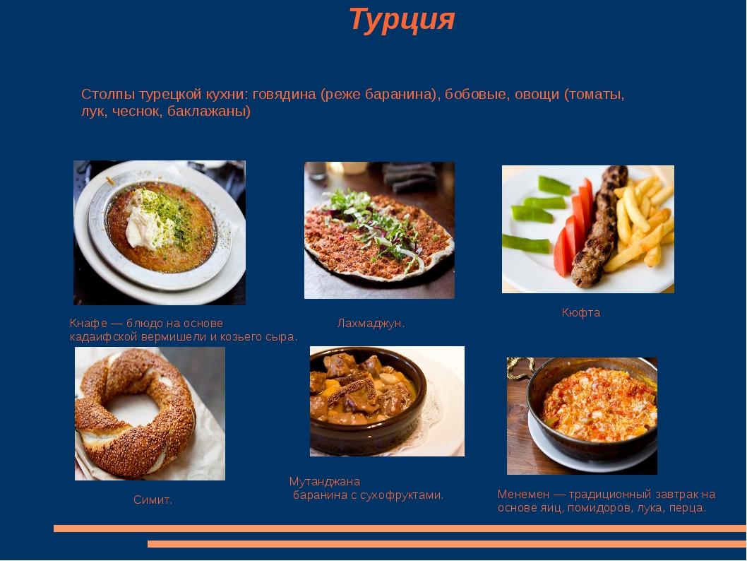 Турция Кнафе — блюдо на основе кадаифской вермишели и козьего сыра. Симит. Л...