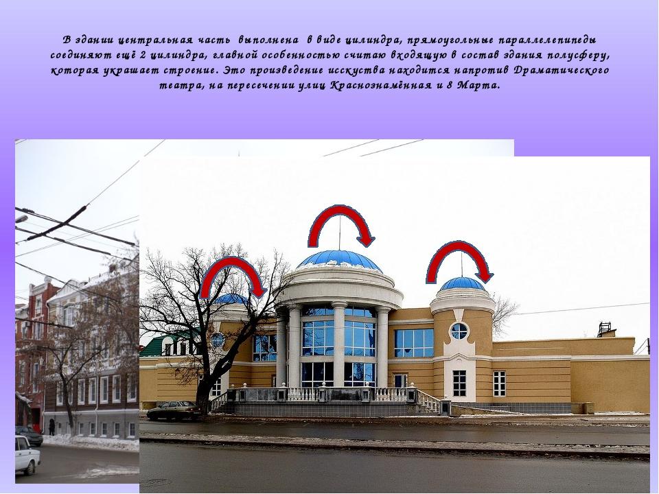 В здании центральная часть выполнена в виде цилиндра, прямоугольные параллел...