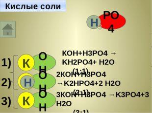 РО4 Н Н Н 3 ОН Н К ОН К Н КОН+Н3PO4 → KН2PO4+ Н2O (1:1) ОН Н 2КОН+Н3PO4 →K2НP