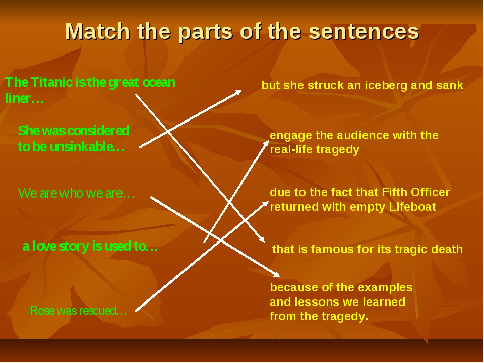 Match the parts of the sentences The Titanic is the great ocean liner… She wa...