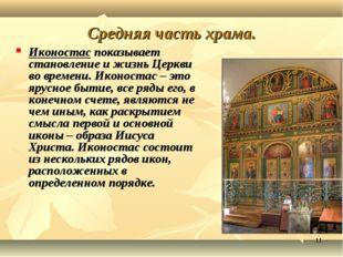 * Средняя часть храма. Иконостас показывает становление и жизнь Церкви во вре