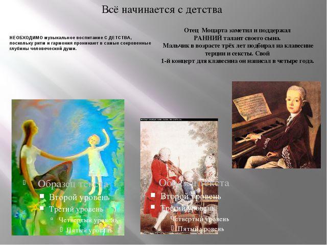 Всё начинается с детства НЕОБХОДИМО музыкальное воспитание С ДЕТСТВА, посколь...