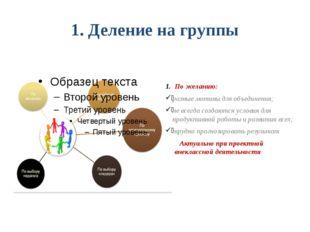 1. Деление на группы По желанию: разные мотивы для объединения; не всегда соз
