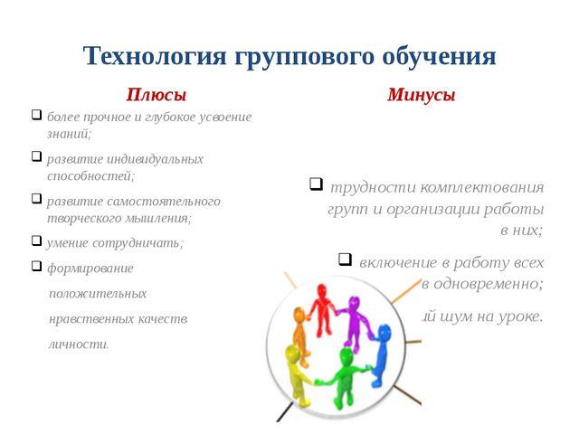 Технология группового обучения Плюсы более прочное и глубокое усвоение знаний...