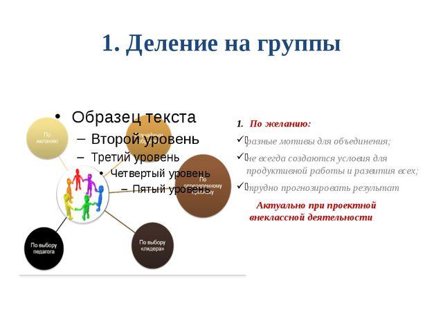 1. Деление на группы По желанию: разные мотивы для объединения; не всегда соз...