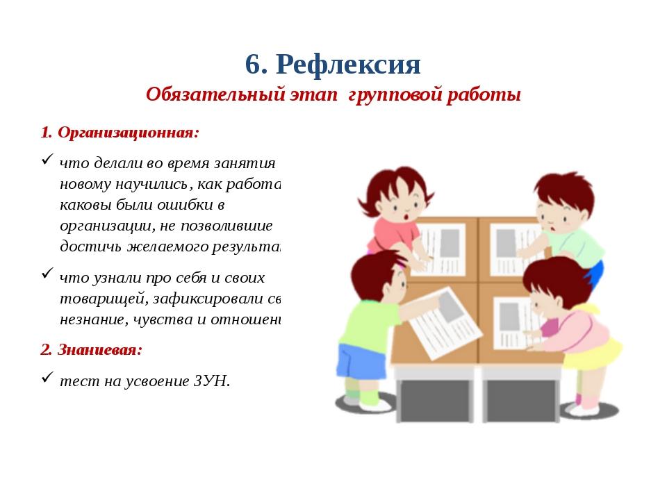 6. Рефлексия Обязательный этап групповой работы 1. Организационная: что делал...