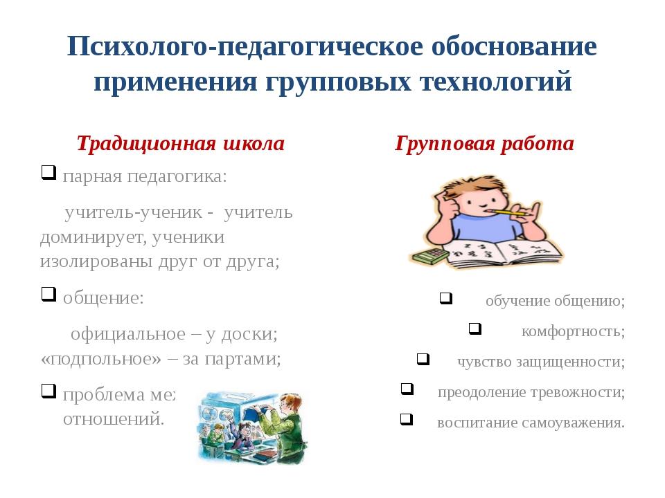Психолого-педагогическое обоснование применения групповых технологий Традицио...