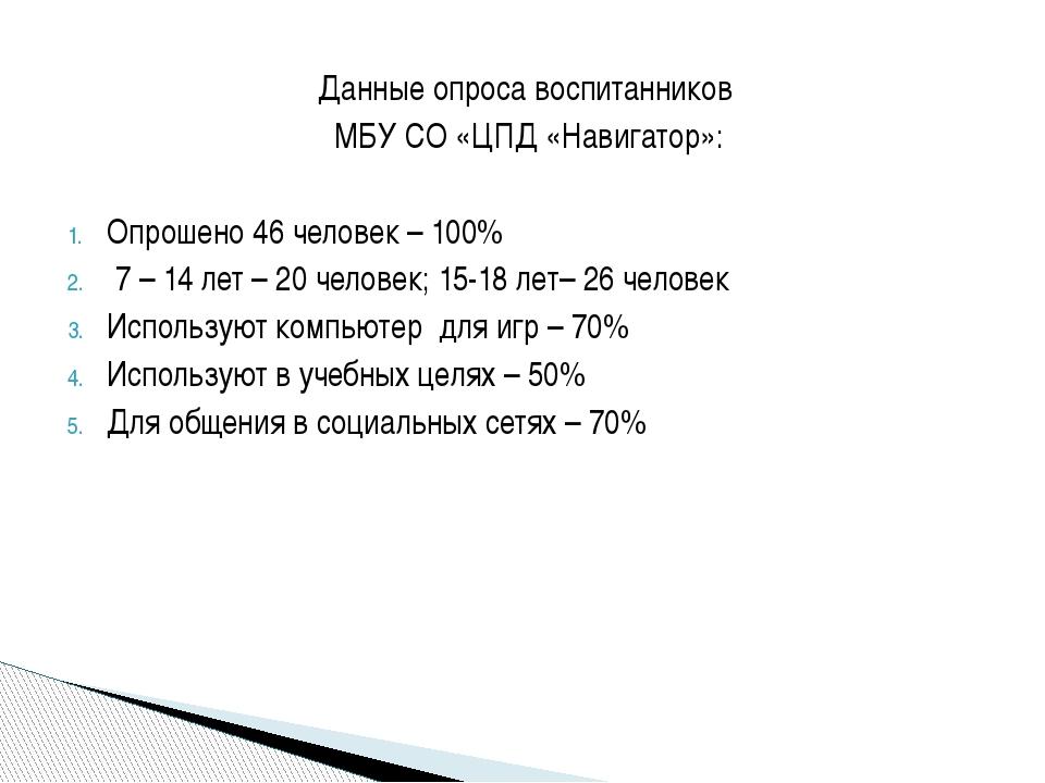 Данные опроса воспитанников МБУ СО «ЦПД «Навигатор»: Опрошено 46 человек – 10...