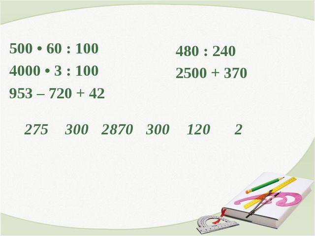 500 • 60 : 100 4000 • 3 : 100 953 – 720 + 42 480 : 240 2500 + 370 27530028...