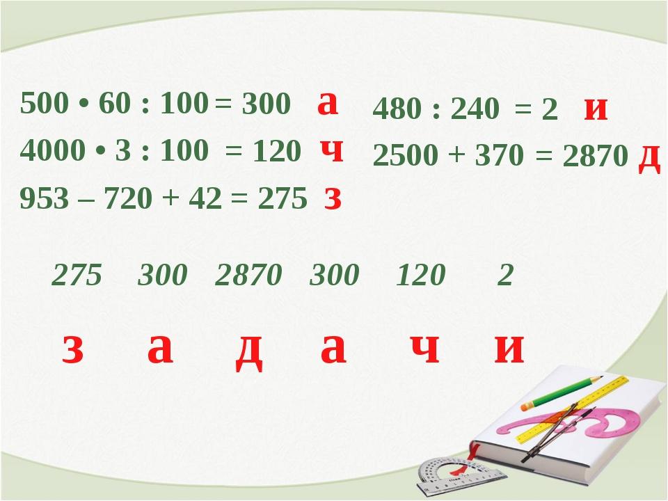500 • 60 : 100 4000 • 3 : 100 953 – 720 + 42 = 300 а = 120 ч = 275 з 480 : 2...