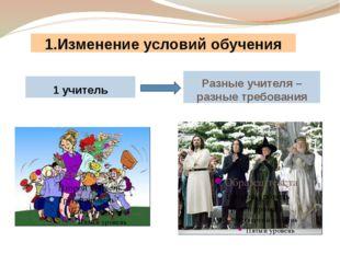 1.Изменение условий обучения 1 учитель Разные учителя – разные требования Пре