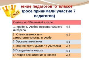Мнение педагогов о классе (в опросе принимали участие 7 педагогов) Оценкапо 5