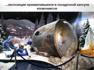…экспозиция приземлившихся в посадочной капсуле космонавтов