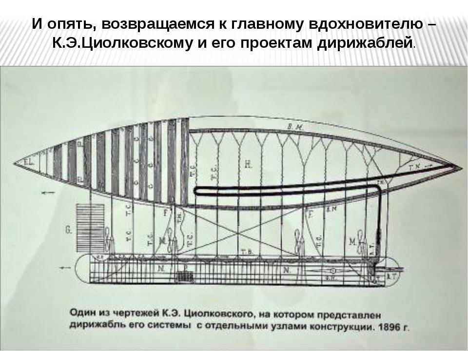 И опять, возвращаемся к главному вдохновителю – К.Э.Циолковскому и его проект...