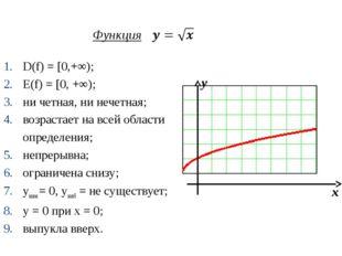 Функция D(f) = [0,+∞); Е(f) = [0, +∞); ни четная, ни нечетная; возрастает на