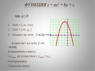 при а < 0 D(f) = (-∞, +∞); Е(f) = (-∞; у0 ] убывает на луче [−в/2а; +), воз