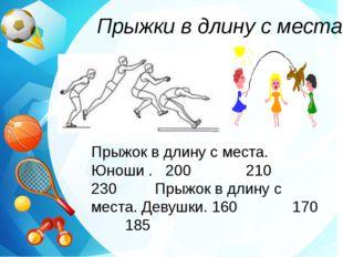 Прыжки в длину с места Прыжок в длину с места. Юноши . 200 210 230 Прыжок в д
