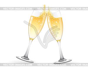 Бокалы шампанского - векторизованное изображение клипарта