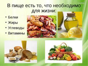 В пище есть то, что необходимо для жизни: Белки Жиры Углеводы Витамины