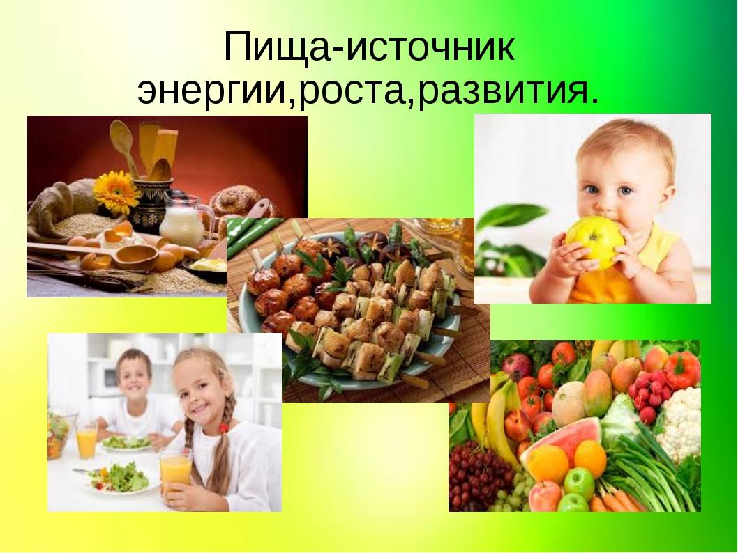 Пища-источник энергии,роста,развития.