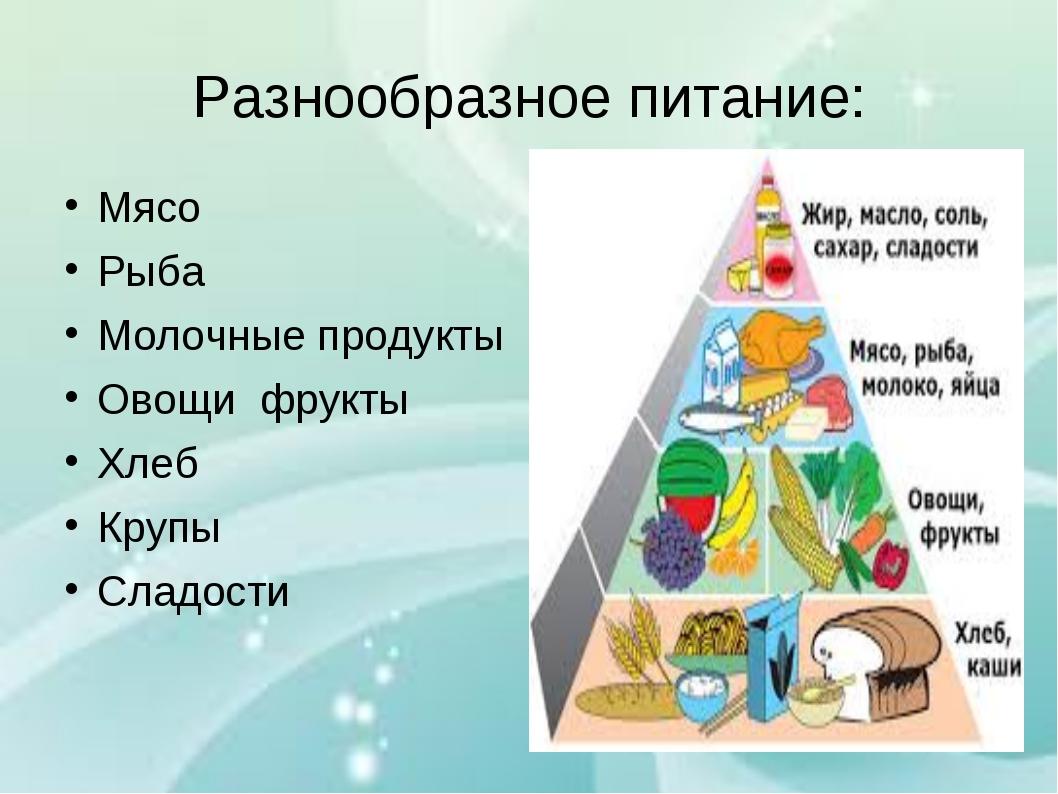 Разнообразное питание: Мясо Рыба Молочные продукты Овощи фрукты Хлеб Крупы Сл...