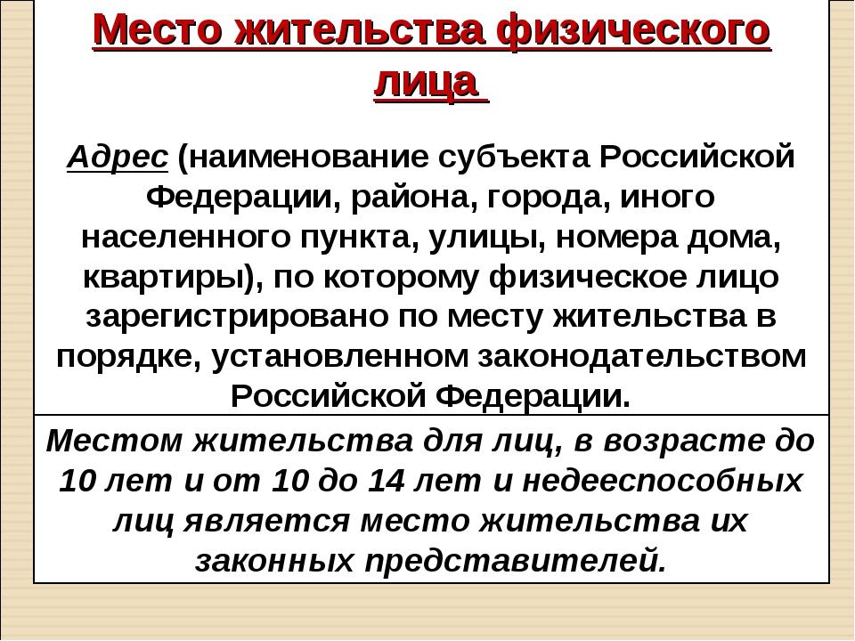 Место жительства физического лица Адрес (наименование субъекта Российской Фед...