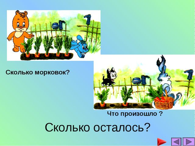 Сколько осталось? Сколько морковок? Что произошло ?