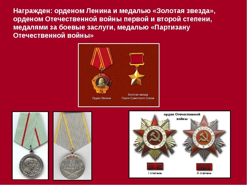 Награжден: орденом Ленина и медалью «Золотая звезда», орденом Отечественной в...