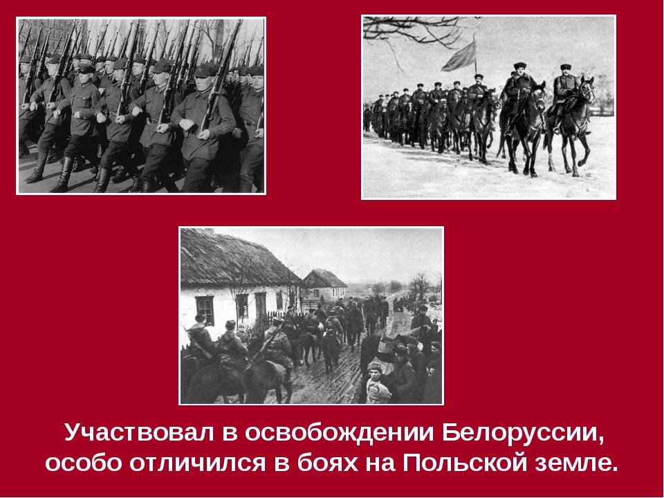 Участвовал в освобождении Белоруссии, особо отличился в боях на Польской зем...