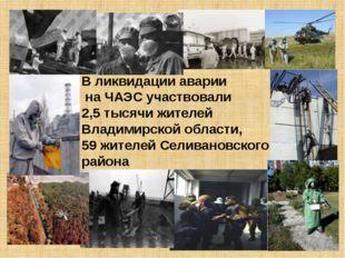 В ликвидации аварии на ЧАЭС участвовали 2,5 тысячи жителей Владимирской облас
