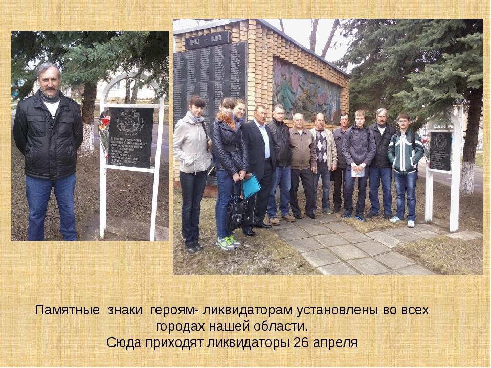 Памятные знаки героям- ликвидаторам установлены во всех городах нашей области...