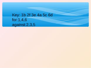 Key: 1b 2f 3e 4a 5c 6d for:1,4,6 against:2,3,5