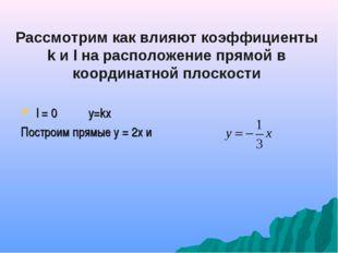 Рассмотрим как влияют коэффициенты k и l на расположение прямой в координатно