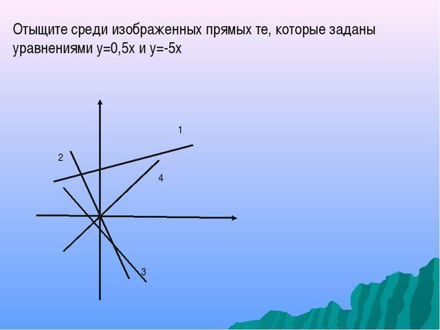Отыщите среди изображенных прямых те, которые заданы уравнениями у=0,5х и у=-...