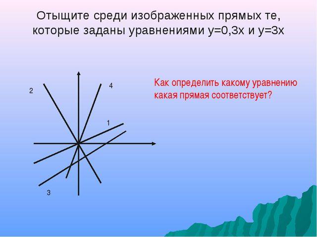 Отыщите среди изображенных прямых те, которые заданы уравнениями у=0,3х и у=3...