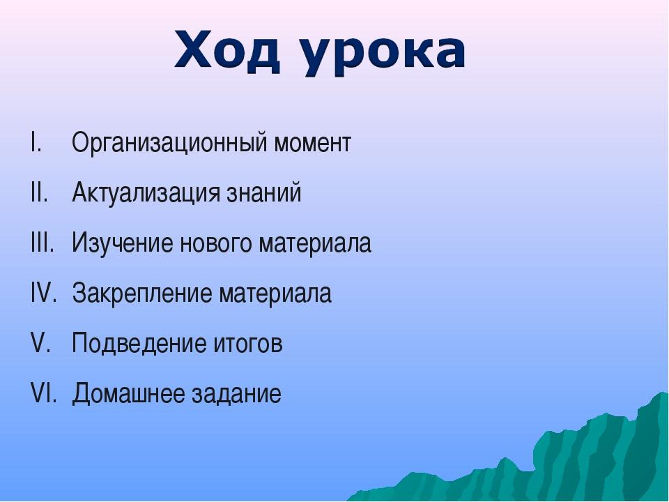 Организационный момент Актуализация знаний Изучение нового материала Закрепле...