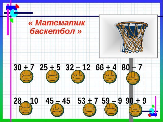 « Математик баскетбол » 30 + 7 25 + 5 32 – 12 66 + 4 80 – 7 28 – 1045...