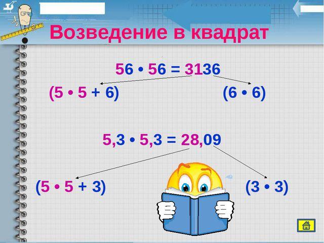 Возведение в квадрат 56 • 56 = 3136 (5 • 5 + 6) (6 • 6) 5,3 • 5,3 = 28,09 (...