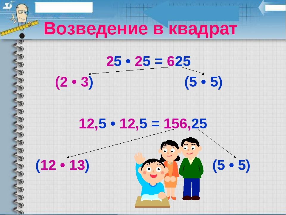 Возведение в квадрат 25 • 25 = 625 (2 • 3) (5 • 5) 12,5 • 12,5 = 156,25 (12...