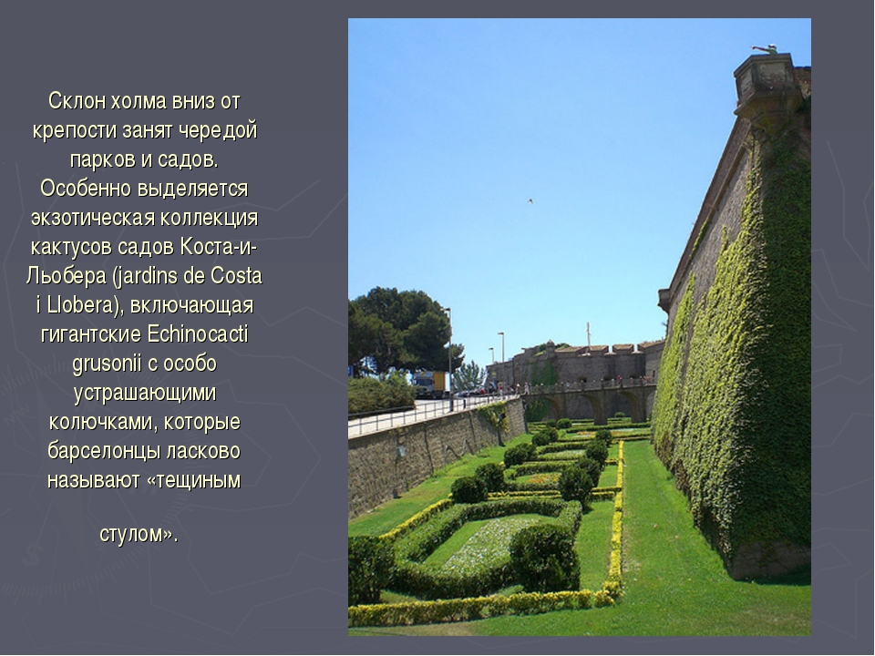 Склон холма вниз от крепости занят чередой парков и садов. Особенно выделяетс...